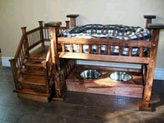 Dog bunk bed and feeding station all in one --- how cute is that?!  :)