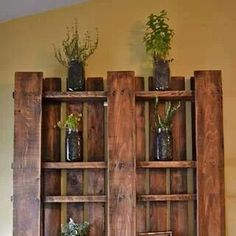 Stained shelf made out of wood pellet.