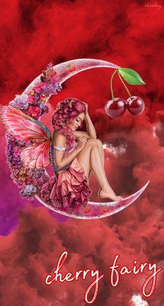 #cherry #wallpaper #fairy #fondodepantalla #fondodepantallaparatelefono #hadas #hada #red #rojo #luna #moon #flores #wallpaperred Rosy Mcmichael, Luna Moon, Cherry, Fairy, Wallpaper, Red, Cute Backgrounds, Wallpaper For Your Phone, Tumblr Backgrounds