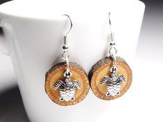 Wooden earrings silver plated surgical steel hooks Tibetan
