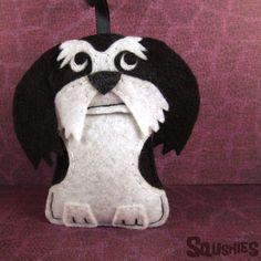 Shih Tzu Dog Breed Ornament, Handmade Felt Dog, Christmas Ornament - Alvin the Shih Tzu by Squshies