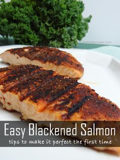 How to Make the Perfect Blackened Salmon the first time! Blackened Salmon Recipe including ideas for spices from Cajun Blackened Salmon and Garlic and Lemon Pepper Salmon. Baked Salmon Recipes, Fish Recipes, Seafood Recipes, Great Recipes, Favorite Recipes, Recipies, I Love Food, Good Food, Yummy Food