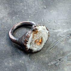 Copper Ring Gem Stone Chalcedony Patina Druzy Dusty Blue Grey Gray Artisan Desert Rose on Etsy, Sold