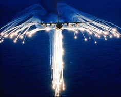 C-130  Releasing flares.
