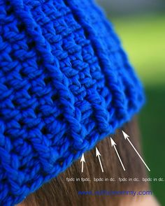 Rib-wrapped crochet beanie, using front-post/back-post double crochet.
