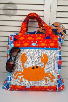 Don't Be Crabby fabric by Laurie Wisbrun | Paper pieced Crabby pattern and beach bag by During Quiet Time