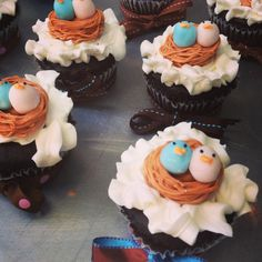 Baby Shower Cupcakes for a twin boy and twin girl.  From The Solvang Bakery.