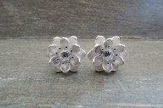 Stud Earrings – Sterling silver 925 Lotus flower earrings studs – a unique product by MadamebutterflyMeagan on DaWanda