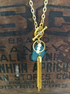 Necklace Turquoise Blue Sea Glass Druzy by AdornmentsByDonna