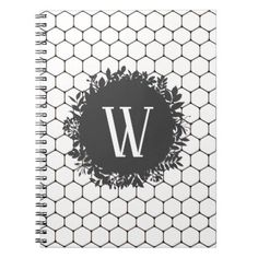 Black and White Beehive Pattern with Monogram Notebook - black gifts unique cool diy customize personalize
