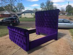 King Sleigh Bed Tufted Purple Velvet Extra Tall Channel Tufted