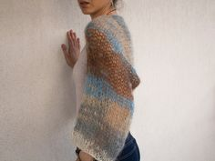 Mohair hand knit shrug, loose knit, boho style, READY TO SHIP by GeryYap4 on Etsy