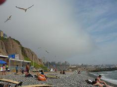 Stony beach in Lima Peru