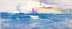 'South Head, Port Jackson' offers the experience of the harbour from the water, as so many boating or ferry-travelling Sydney-siders know it. a poetic gem in blue and yellow, very like . Australian Painters, Australian Artists, Sir Arthur, Aboriginal Art, Local Artists, Ocean Beach, Jackson, Watercolor, Pictures