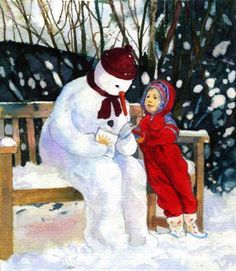 The Reading Snowman (illustration by Frances McKay)