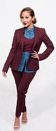 Adrienne Bailon The Real Daytime plum suit