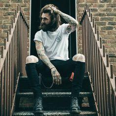 Ricki Hall - full thick dark beard mustache beards bearded man men mens' street style clothing fashion tattoos tattooed