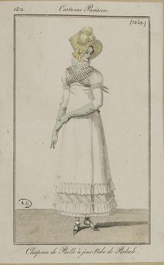 """Costume Parisien, 1812,     From the Bibliothèque des Arts Décoratifs via SceneInThePast flickr.   plate 1249  """"Chapeau de Paille à jaour. Robe de Perkale"""""""