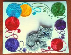 Cute cat with knitting balls Quilling Cards, Paper Quilling, Quilling Animals, Paper Crafts, Knitting, Inspiration, Balls, Cat, Image