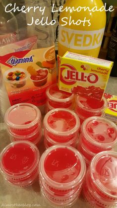 Best jello shots ever! Cherry Lemonade frollom Almost Her Bl Tequila Jello Shots, Lemonade Jello Shots, Cherry Jello Shots, Best Jello Shots, Making Jello Shots, Champagne Jello Shots, Jello Pudding Shots, Cherry Lemonade, Alcohol Shots