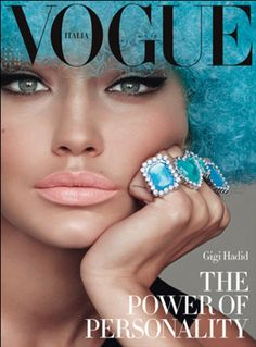 When Vogue Italia styled Gigi Hadid in this blue Afro on its cover. | 19 Times Pop Culture Was Embarrassingly Offensive In 2015