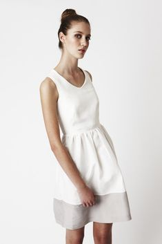 Vee-neck White Evelyn Dress