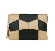 Brown Leather Clutch bags with check black pattern