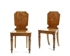 ROYAL INTEREST: A pair of early Victorian oak hall chairs for Osborne Cottage, Isle of Wight (2)