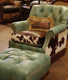 Turquoise Leather and Cow Hide Chair I think I might like brown leather better but still cute :)