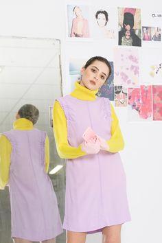 Sleeveless shift style dress with shirred elastic detail in a viscose crepe. French Seam, Purple Haze, Purple Dress, Fashion Dresses, Slim, Style, Fashion Show Dresses, Swag, Trendy Dresses