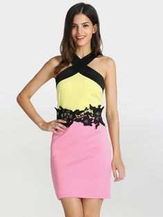 Pink Yellow Sleeveless Color Block Dress