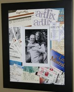 Memorabilia Matt picture made out of movie stubs, playbills, mini golf score card and plane tickets from our first year of dating (tutorial)