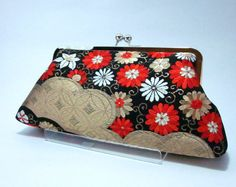 Black floral Clutch / Vintage Kimono Obi bag/ hand made/5