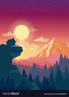 Illustration of house on top of mountain with beautiful sunset in mountains landscape on background, sun and clouds in sky in e. Art And Illustration, Mountain Illustration, Flat Design Illustration, Free Vector Illustration, Vector Illustrations, Landscape Pictures, Landscape Art, Mountain Landscape, Design Ios