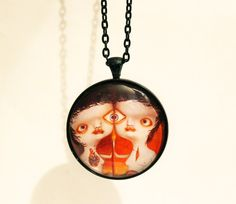 Necklace with artprint of Susi original art by WeirdwonderfulSusi
