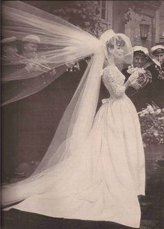 Jean Patou, Harper s Bazaar, April 1960 Sparkly Bridal 1960s Wedding, Vintage Wedding Photos, Vintage Bridal, Vintage Weddings, Country Weddings, Lace Weddings, Bride Gowns, Bridal Dresses, Wedding Bride