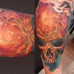 Different Colors, Tattoo Designs, Skull, Portrait, Tattoos, Tatuajes, Portrait Illustration, Japanese Tattoos, Design Tattoos