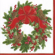Caspari Evergreen Wreath White Christmas Theme Printed 3-Ply Paper Luncheon Napkins Wholesale 13410L