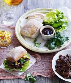 Pulled beef rolls with corn and green chilli relish - Gourmet Traveller