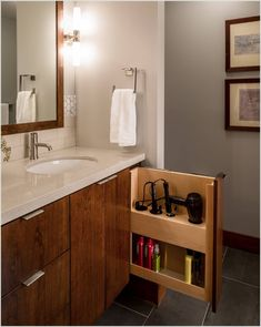 Whether you've got a small bathroom or a giant one, you have storage options. Ahead, twenty clever bathroom storage ideas that'll keep clutter at bay. Bathroom Storage Solutions, Bathroom Organization, Bathroom Ideas, Bathroom Designs, Bathroom Remodeling, Organization Ideas, Remodeling Ideas, Basement Renovations, Bath Storage