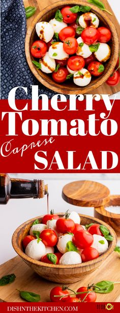 Cherry Tomato Caprese Salad is a summery Italian salad featuring ripe cherry tomatoes, fresh basil, and fresh mozzarella. It's drizzled with high quality olive oil and a sweet tart balsamic reduction. Tomato Caprese, Caprese Salad, Savory Salads, Easy Salads, Balsamic Reduction, Italian Salad, Fresh Mozzarella, Sweet Tarts, How To Make Salad