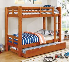 Wood block legs give the durable, solid wood Furniture of America Zak Contemporary Twin Over Twin Bunk Bed its timeless style. To ensure this twin. Bunk Beds With Drawers, Bunk Beds With Storage, Bunk Bed With Trundle, Full Bunk Beds, Kid Beds, Solid Wood Bunk Beds, Wooden Bunk Beds, Twin Car Bed, Twin Twin