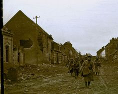 A French patrol walking in toxic gas. Sometimes gas contaminated entire sections of the front for a few hours.