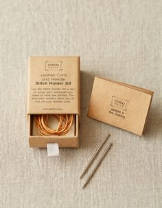 LEATHER CORD AND NEEDLE STITCH HOLDER Kit - Coco Knits