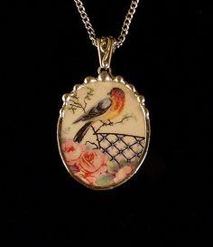 Broken china jewelry pendant necklace antique robin bird rare china
