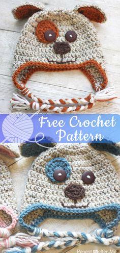 12eff2bf4fd8 Puppy Hat  CROCHET FREE PATTERNS   hat  freecrochet  hatcrochet  crochet  Вязаные