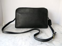 Coach East-West Cross Body Bag // Black Leather Zipper Top
