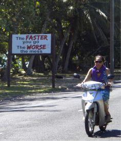 Road sign in Raratonga