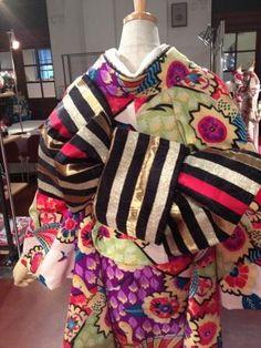 帯結び Kimono Japan, Yukata Kimono, Kimono Fabric, Japanese Kimono, Japanese Girl, Obi One, Japan Image, Japanese Outfits, Kimono Style