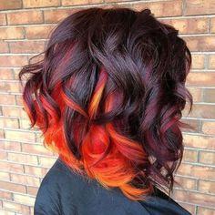 50 Popular Fall Hair Color Ideas For Women Cheveux Oranges, Flame Hair, Pelo Multicolor, Sunset Hair, Rides Front, Yellow Hair, Blue Purple Hair, Cool Hair Color, Fire Hair Color